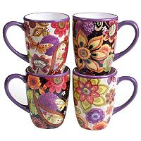 Certified International Paisley Floral 4 pc Mug Set