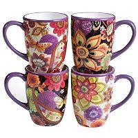 Certified International Paisley Floral 4-pc. Mug Set