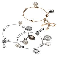 Key, Heart Lock & Bow Charm Two Tone Bangle Bracelet Set