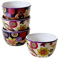 Certified International Paisley Floral 4 pc Ice Cream Bowl Set