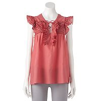 Women's LC Lauren Conrad Lace Up Eyelet Top