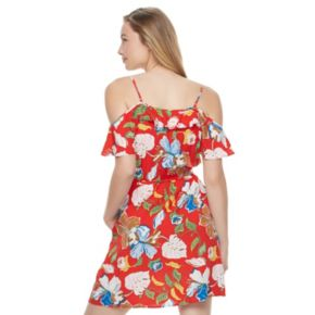 Juniors' Candie's® Ruffle Cold Shoulder Dress