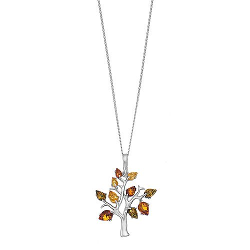 Sterling Silver Amber Tree Pendant Necklace