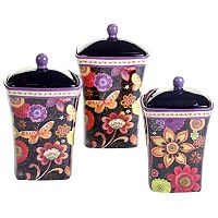 Certified International Paisley Floral 3 pc Canister Set
