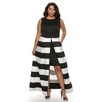 Plus Size Chaya Striped Evening Gown