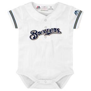Baby Majestic Milwaukee Brewers Cool Base Replica Jersey Bodysuit