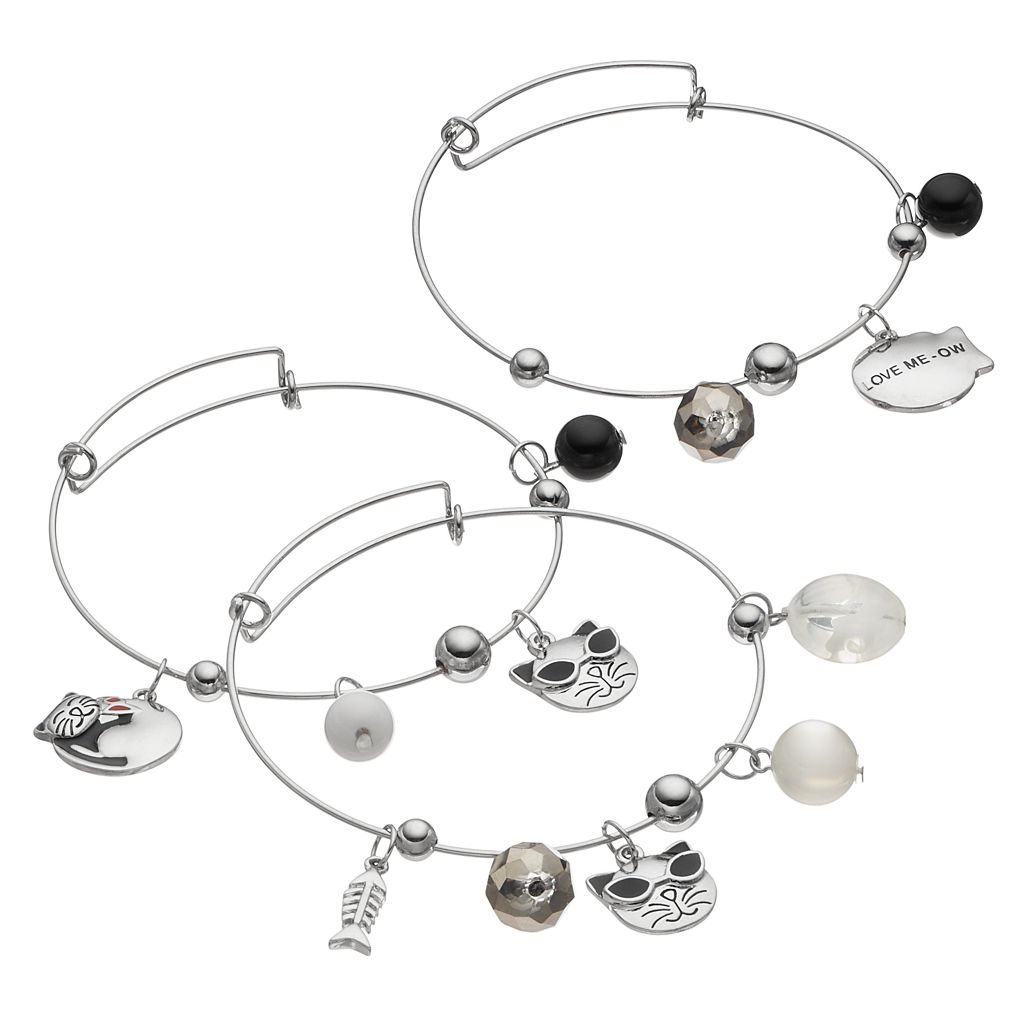 Cat Charm Bangle Bracelet Set