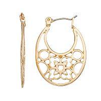 Chaps Openwork Oval Hoop Earrings
