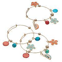 Flower & Fruit Slice Charm Bangle Bracelet Set