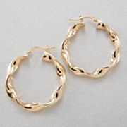 14k Gold Wavy Hoop Earrings