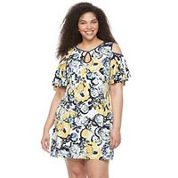 Plus Size Chaya Floral Cold-Shoulder Shift Dress