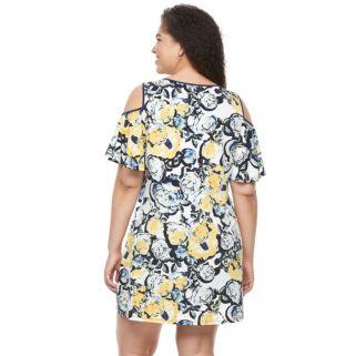 Plus Size Chaya Floral Cold-Shoulder Shift Dress