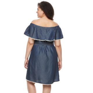 Plus Size Chaya Off-the-Shoulder Jean Dress