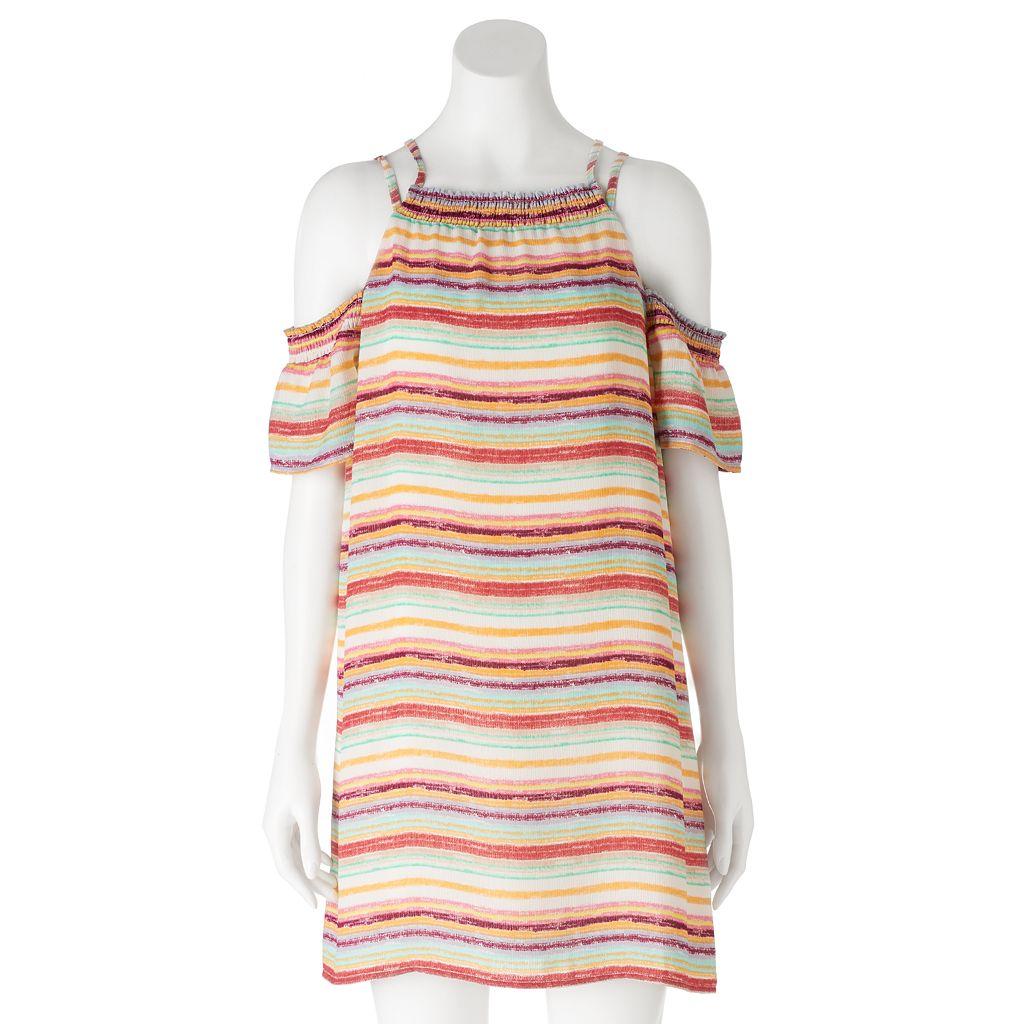 Juniors' Lily Rose Striped Cold Shoulder Shift Dress