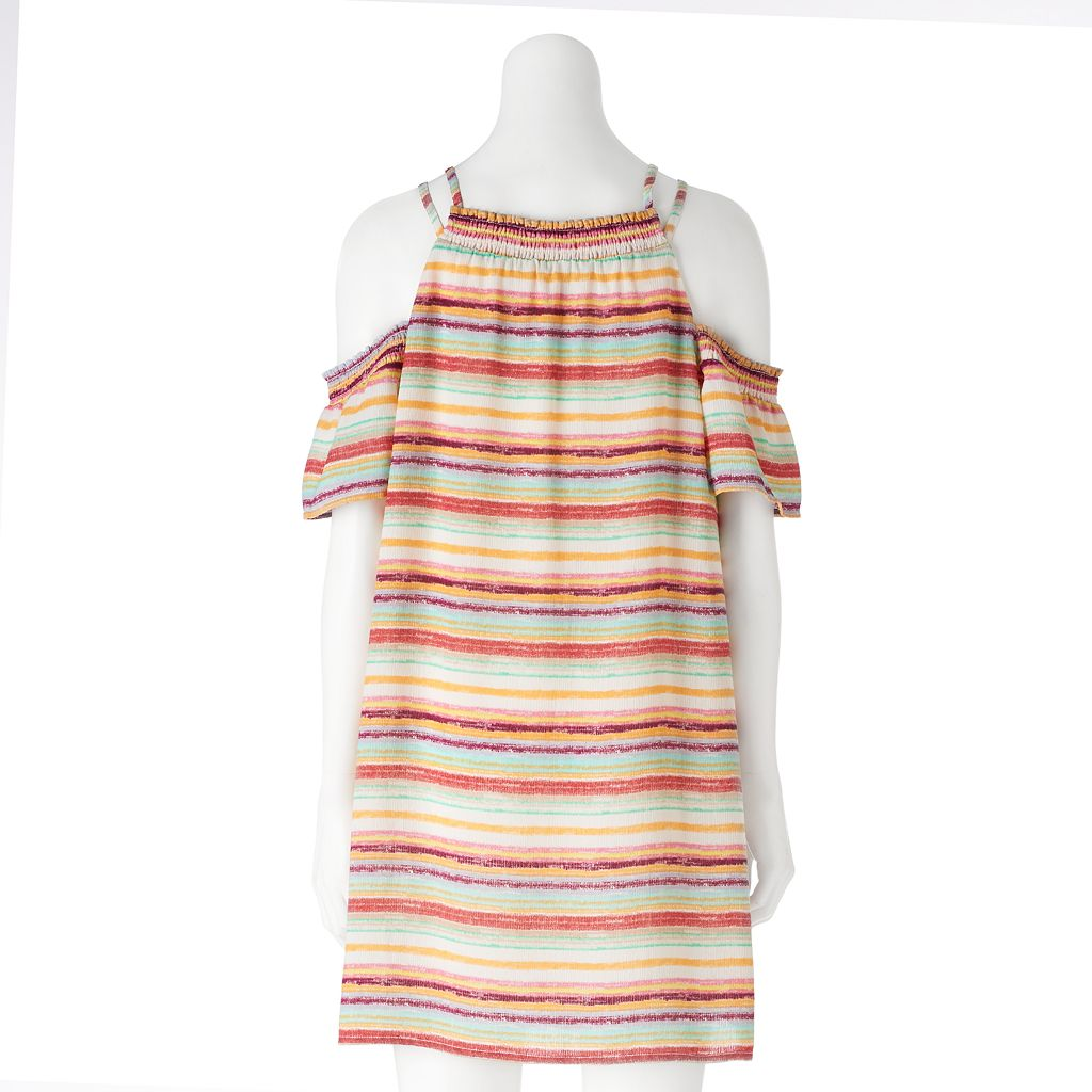 Juniors' Lily Rose Striped Cold Shoulder Shift Dress