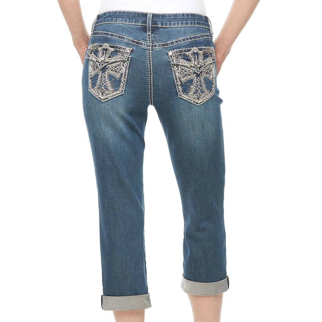 Women's Apt. 9® Embellished Flap Pocket Capri Jeans