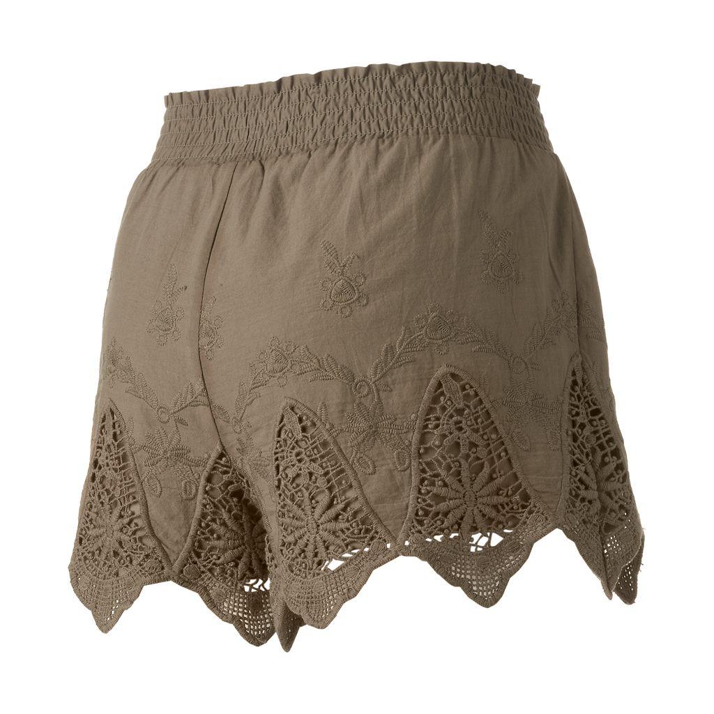 Juniors' Mudd® Crochet Scallop Soft Shorts