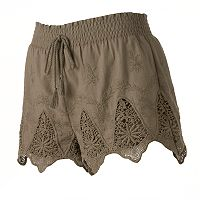 Juniors' Mudd® Crochet Scallop Soft Shorts