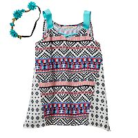 Girls 7-16 Self Esteem Woven Handkerchief Hem Tank Top with Headband Set
