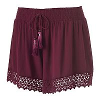 Juniors' Mudd® Crochet-Hem Soft Shorts