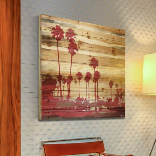 Parvez Taj Red Palms Wood Wall Art