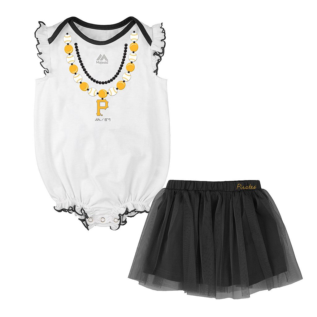 Baby Majestic Pittsburgh Pirates Fancy Play Bodysuit & Skirt Set