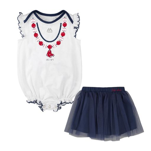 Baby Majestic Boston Red Sox Fancy Play Bodysuit & Skirt Set