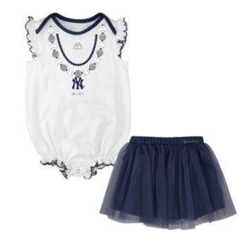 Baby Majestic New York Yankees Fancy Play Bodysuit & Skirt Set