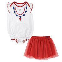 Baby Majestic Philadelphia Phillies Fancy Play Bodysuit & Skirt Set