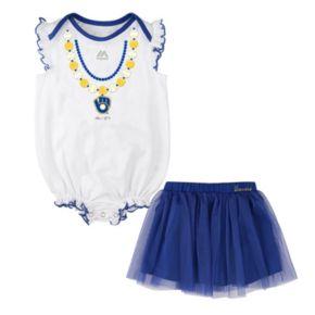 Baby Majestic Milwaukee Brewers Fancy Play Bodysuit & Skirt Set