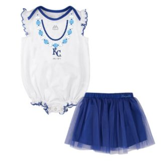 Baby Majestic Kansas City Royals Fancy Play Bodysuit & Skirt Set