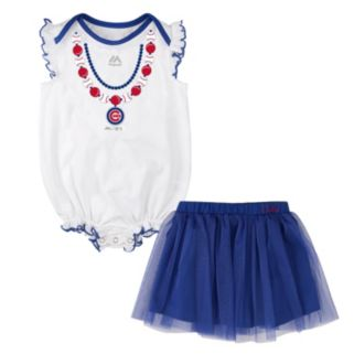 Baby Majestic Chicago Cubs Fancy Play Bodysuit & Skirt Set
