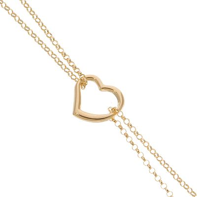 14k Gold Double-Strand Heart Chain Anklet - 10-in.