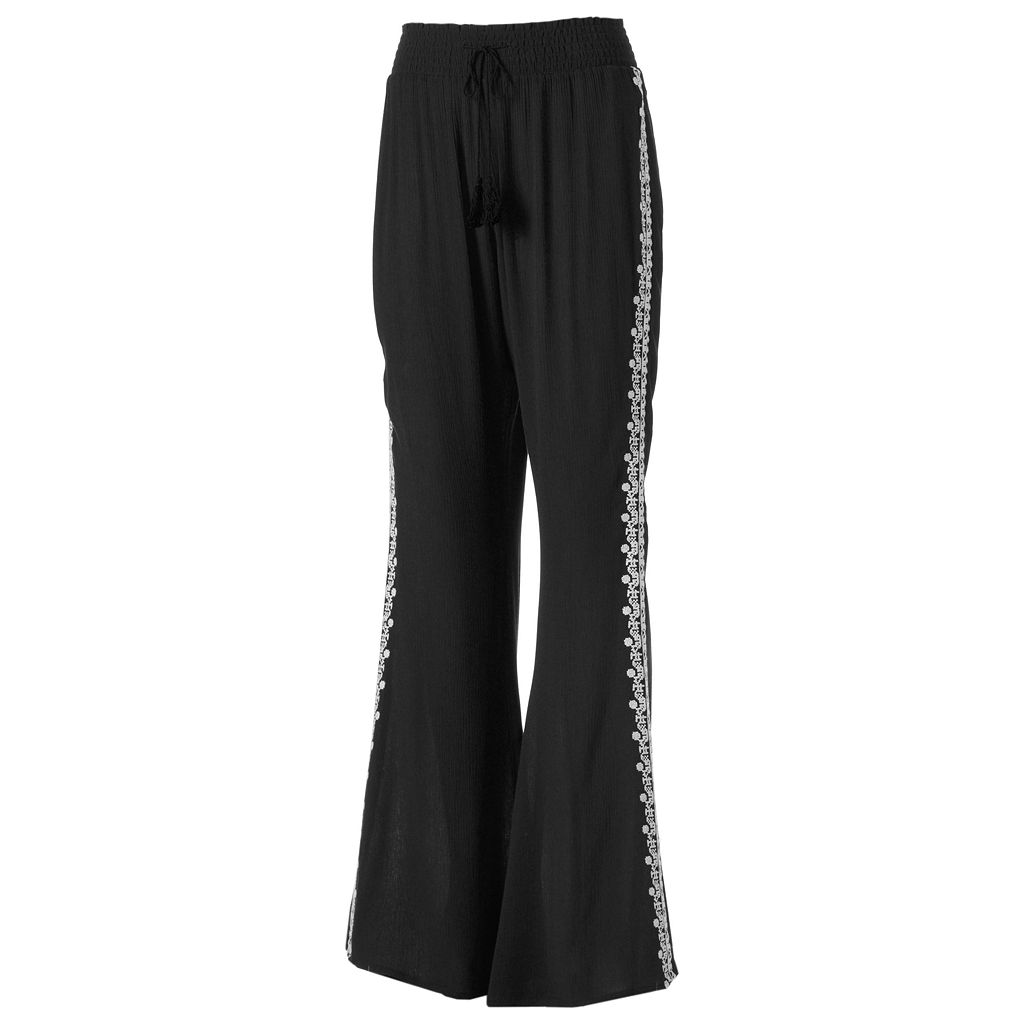 Juniors' Mudd® Embroidered Wide Leg Pants