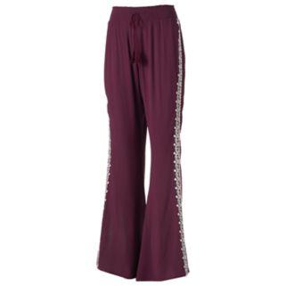 Juniors' Mudd® Embroidered Wide Leg Pants