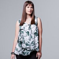 Plus Size Simply Vera Vera Wang Foil Draped Asymmetrical Top