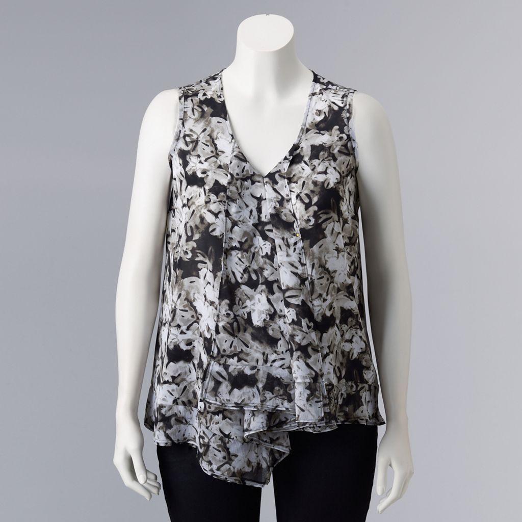 Plus Size Simply Vera Vera Wang Draped Asymmetrical Top