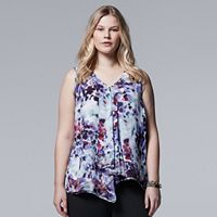 Plus Size Simply Vera Vera Wang Draped Asymmetrical Top