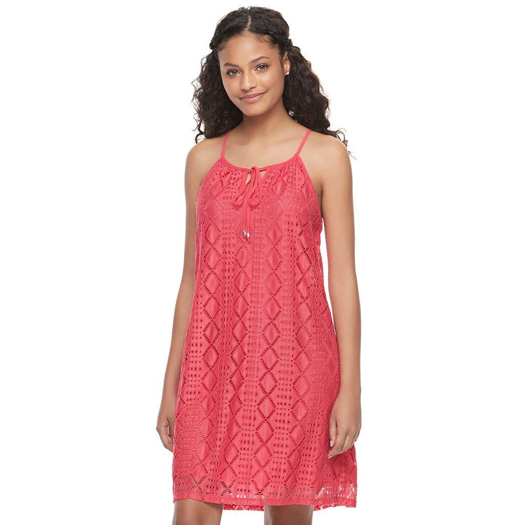Juniors' Lily Rose Tie-Neck Lace Shift Dress
