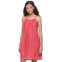 Juniors' Lily Rose Tie-Neck Lace Shift Dress
