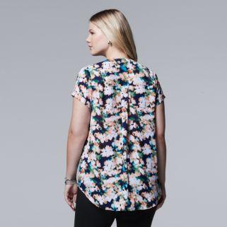 Plus Size Simply Vera Vera Wang Floral Chiffon High-Low Top