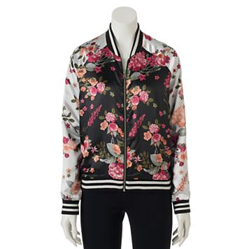 Juniors' Love, Fire Floral Bomber Jacket