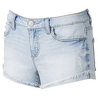 Juniors' Mudd® High-Rise Ripped Shortie Jean Shorts