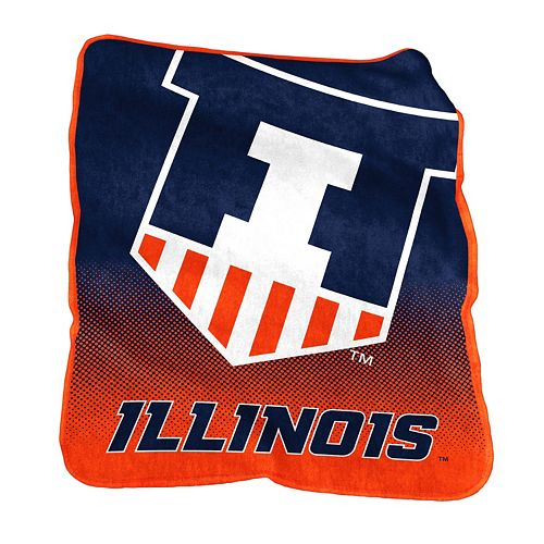 Logo Brand Illinois Fighting Illini Raschel Throw Blanket