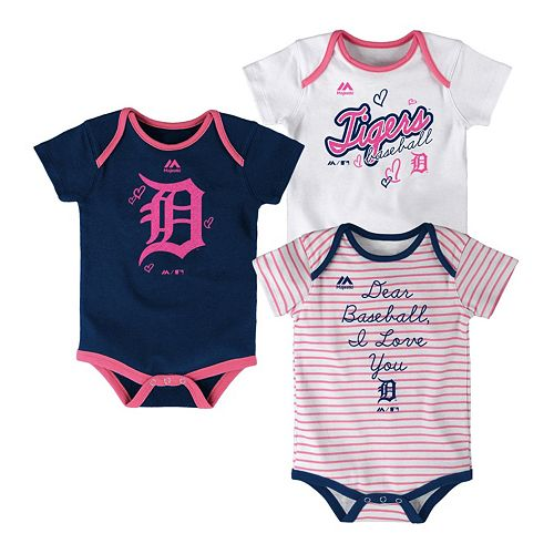 Baby Majestic Detroit Tigers 3-Pack Bodysuits