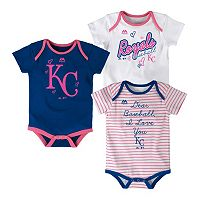 Baby Majestic Kansas City Royals 3-Pack Bodysuits