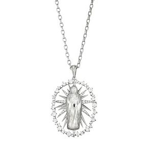 Silver Tone Crystal & Cubic Zirconia Virgin Mary Pendant Necklace