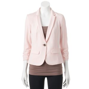 Juniors' Candie's® Ruched Sleeve Blazer