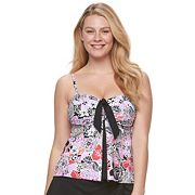 Women's A Shore Fit Tummy Slimmer Bow-Front Tankini Top