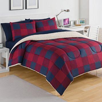 IZOD Buffalo Plaid Sherpa Comforter Set